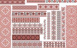 Satz ethnische Muster für Stickerei-Stich Stockbild