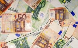 Satz Eurobanknoten Stockbild