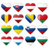 Satz europäische Flaggen Stockfotos