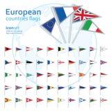 Satz europäische Flaggen, Vektorillustration Stockfotografie