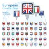 Satz europäische Flaggen, Vektorillustration Lizenzfreie Stockfotografie