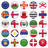 Satz europäische runde Flaggen-Ikonen Lizenzfreie Stockfotos