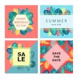 Satz exotisches und tropisches Kartendesign des Sommers Stockbild