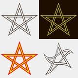 Satz fünf-spitze Sterne Stockfoto
