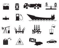 Satz fünfzehn Erdölgewinnungs- und Verteilungs-/Transportikonen Stockfoto