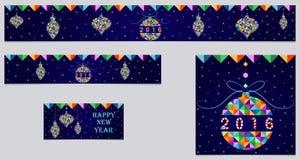 Satz Fahne und des Titels der Weihnachten 3 Weihnachtsbälle gemacht mit bunten Dreiecken, neues Jahr 2016 Stockbild