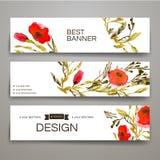 Satz Fahnen übergeben gezogenem Aquarell rote romantische Blume und Niederlassungen mit Text Stockfotografie