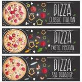 Satz Fahnen für flaches Design der verschiedenen Geschmäcke der Themapizza stock abbildung