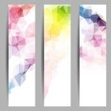 Satz Fahnen mit abstrakten Dreiecken Stockbild