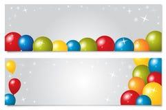 Satz Fahnen mit Ballonen Stockfoto