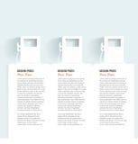 Satz Fahnen mit Benzinkanister. Gaspumpe auf Weiß Stockbild