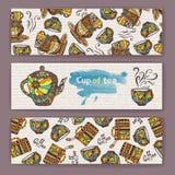 Satz Fahnen mit dekorativem Tasse Kaffee Stockfotografie