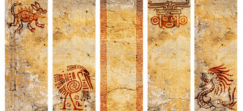 Satz Fahnen mit indianischen traditionellen Mustern Stockbild