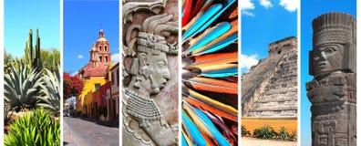 Satz Fahnen mit Marksteinen von Mexiko Stockfoto