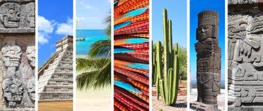 Satz Fahnen mit Marksteinen von Mexiko Stockfotos