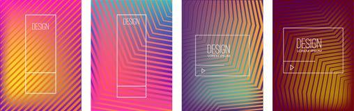 Satz Fahnendesignschablonen mit abstrakter vibrierender Steigung formt Gestaltungselement für Plakat, Karte, Flieger, Darstellung stock abbildung