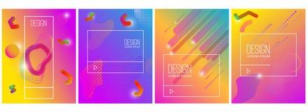 Satz Fahnendesignschablonen mit abstrakter vibrierender Steigung formt Gestaltungselement für Plakat, Karte, Flieger, Darstellung lizenzfreie abbildung