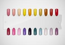 Satz falsche Nägel für Maniküre spitzen Lackfarbpalette für Nagelerweiterung Künstliche Nägel auf transparenter Basis Vektor Abbildung