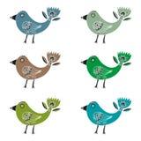 Satz fantastische Hand gezeichnete Vögel mit Tulpe ähnlichem Endstück auf einem weißen Hintergrund Lizenzfreie Stockfotos