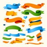 Satz Farbbänder für Ihren Text Stockbild