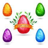 Satz Farbe, glänzende Eier mit einem einfachen Muster Stockfotos