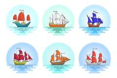 Satz Farbe versendet mit Segeln im Meer für Reise, Tourismus, Reisebüro, Hotels, Ferienkarte Stockbild