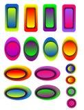 Satz Farben knöpft, Netz, Anwendungen Stockfoto