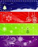 Satz Farbeweihnachtsfahnen Stockfotos