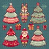 Satz Farbeweihnachtsspielwaren Hintergrund beleuchtete Girlande der farbigen Glühlampen Stockfotografie