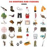 Satz Farbflache Jagd und Fischen färben flache Ikonen Stockfoto