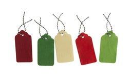 Satz Farbgeschenktags lokalisiert auf weißem Hintergrund Glatte grüne Umbauten Graue Einkaufsaufkleber Sonderangebot und Förderun Stockfoto