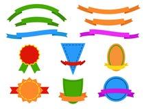 Satz farbige Aufkleber und Bänder für Website Lizenzfreies Stockbild