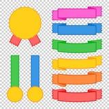Satz farbige Bandfahnen Mit Platz für Text Eine einfache flache Vektorillustration lokalisiert auf einem transparenten Hintergrun Stock Abbildung
