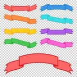 Satz farbige Bandfahnen Mit Platz für Text Eine einfache flache Vektorillustration lokalisiert auf einem transparenten Hintergrun Lizenzfreie Abbildung