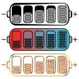 Satz farbige Batterien Stockfotografie