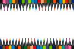 Satz farbige Bleistifte vom Ebenholzholz, lokalisiert Stockfotografie