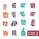 Satz farbige Elemente in der ethnischen Art Lizenzfreie Stockfotos