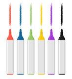 Satz farbige Filzstifte auf weißem Hintergrund Markierungsspur lizenzfreie abbildung