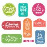 Satz farbige Frühlingsaufkleber, Aufkleber, Aufkleber Lizenzfreie Stockbilder