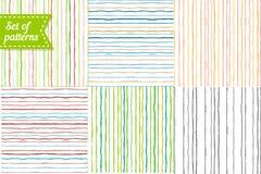 Satz farbige Hintergründe mit Streifen nahtlos Lizenzfreies Stockfoto