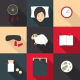 Satz farbige Ikonen auf einem Thema des tiefen Schlafes in einer flachen Art Lizenzfreie Stockbilder