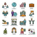 Satz farbige Ikonen für Geschäft lizenzfreie stockfotografie