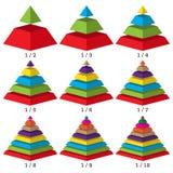 Satz farbige isometry Pyramidendiagramme Kommerzielle Daten, bunte Elemente für infographics Vektor vektor abbildung