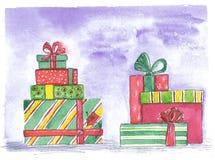 Satz farbige Kästen mit Geschenken auf einem blauen Hintergrund Stockfoto