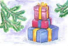Satz farbige Kästen mit Geschenken auf einem Hintergrund von grünen Tannenzweigen Stockfoto