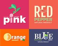 Satz farbige Logos auf dem Thema von Obst und Gemüse von Für Gemüseshops, vegetarische Restaurants und Cafés Stockbilder
