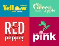 Satz farbige Logos auf dem Thema von Obst und Gemüse von Für Gemüseshops, vegetarische Restaurants und Cafés Lizenzfreies Stockfoto