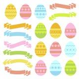 Satz farbige lokalisierte Ostereier und Bandfahnen auf weißem Hintergrund Mit einem abstrakten Muster Einfaches flaches Vektor il Vektor Abbildung