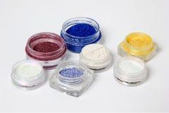Satz farbige Materialien für Nageldesign Lizenzfreies Stockfoto