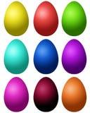 Satz farbige Eier Stockfotos